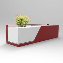 Banco público / moderno / de acero / con jardinera integrada