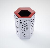 Cubo de basura público / de acero / moderno