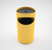 Cubo de basura público / de acero / con cenicero integrado / moderno
