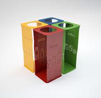 Cubo de basura público / de acero / de reciclaje / con cenicero integrado