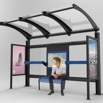 Parada de autobús de acero / de vidrio / de policarbonato