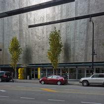 Revestimiento de fachada de chapa / de acero inoxidable / perforado / de panel