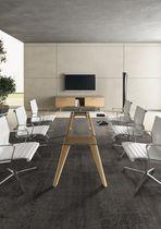 Mesa de reuniones moderna / de vidrio / de chapa de madera / redonda