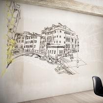 Papeles pintados modernos / de vinilo / con motivos urbanos / lavables