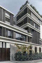 Revestimiento de fachada de cerámica / liso / de panel