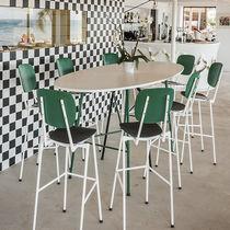 Mesa alta moderna / de metal / ovalada / para restaurante