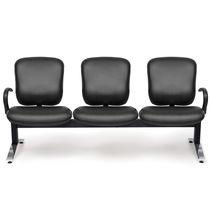 Hileras de sillas de cuero / de metal / 3 plazas / de interior
