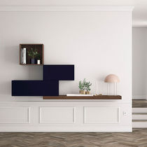 Mueble de salón moderno / de madera lacada / de nogal