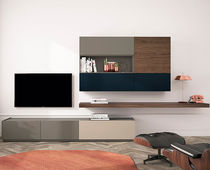 Mueble TV moderno / de madera lacada / de nogal