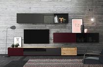 Mueble TV moderno / de roble / de madera lacada brillante