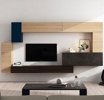 Mueble TV moderno / de roble / de vidrio lacado