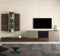 Mueble TV moderno / de madera lacada / de roble / de vidrio lacado