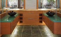 Encimera de lavabo de vidrio / de uso profesional / a medida / reciclada