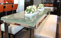 Mesa de comedor moderna / de vidrio / de aluminio / rectangular