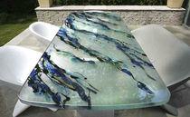 Mesa de comedor moderna / de vidrio / rectangular / profesional