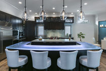 Mostrador para cocina / de bar / de vidrio / en L