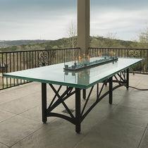 Mesa de comedor moderna / de vidrio / rectangular / de exterior