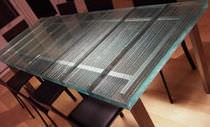 Mesa moderna / de vidrio / rectangular