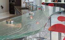 Mostrador para cocina / de vidrio / en arco de círculo