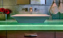 Encimera de lavabo de vidrio / a medida / retroiluminada