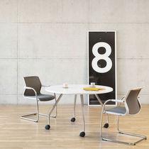 Mesa de conferencia moderna / de roble / de aluminio / redonda