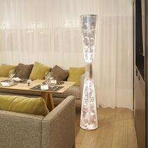 Columna luminosa moderna / de acero inoxidable / halógena / de interior