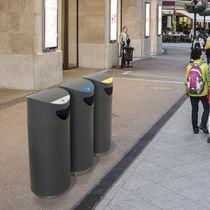 Cubo de basura público / de acero galvanizado / moderno / con cenicero integrado
