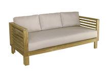 Sofá moderno / de jardín / de teca / de tejido