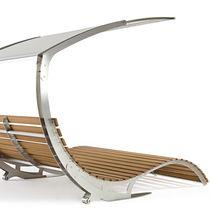 Chaise longue moderna / de tejido repelente al agua / de iroko / de acero inoxidable