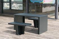 Conjunto de mesa y silla moderno / de acero / de exterior / para espacio público