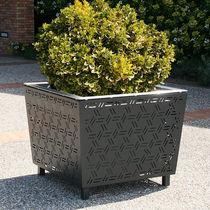 Jardinera de acero / cuadrada / moderna / para espacio público