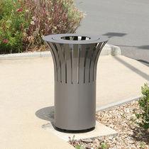 Cubo de basura público / de chapa de acero / con tapa basculante / moderno