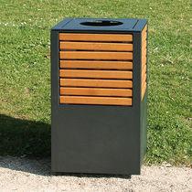 Cubo de basura público / de acero / de madera / moderno