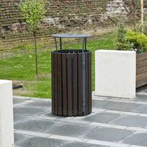 Cubo de basura público / para suelo / de madera / de acero inoxidable