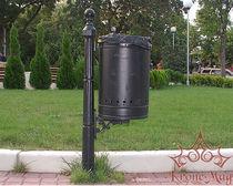 Cubo de basura público / empotrable / de hierro fundido / clásico