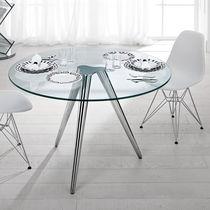 Mesa moderna / de vidrio / de metal cromado / redonda