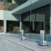 Barandilla de aluminio / con paneles de vidrio / de exterior / para terraza