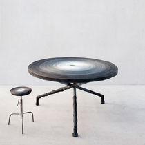 Mesa moderna / de metal / de cuero / de piel animal