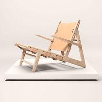 Chaise longue de diseño escandinavo / de roble / de cuero / de interior