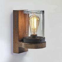Aplique moderno / de teca / LED / redondo