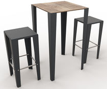 Mesa bistró moderna / de metal / de material laminado / cuadrada