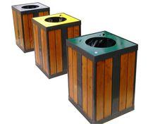 Cubo de basura público / de madera / de reciclaje / moderno