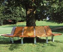 Guarda-árboles de madera / con banco público integrado