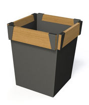 Jardinera de metal / de madera / cuadrada / moderna