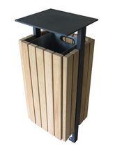 Cubo de basura público / de madera / con cenicero integrado / moderno