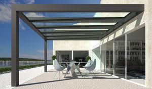 prgola autoportante adosada de aluminio cubierta de policarbonato - Pergola De Aluminio