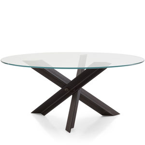 mesa moderna de vidrio de acero de acero inoxidable