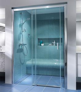 ducha de obra de vidrio rectangular con puerta corredera