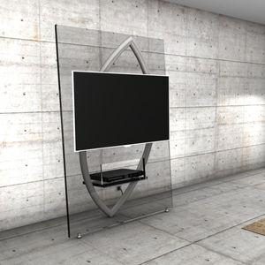 soporte para tv de pared moderno con soporte para lector de dvd de vidrio