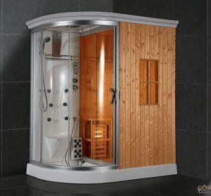 cabina de ducha de vidrio circular con puerta abatible